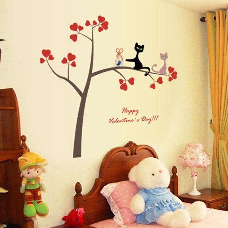Love Heart Tree Cat DIY Vinyl Wall Sticker Decals Sofa Wall Art ...