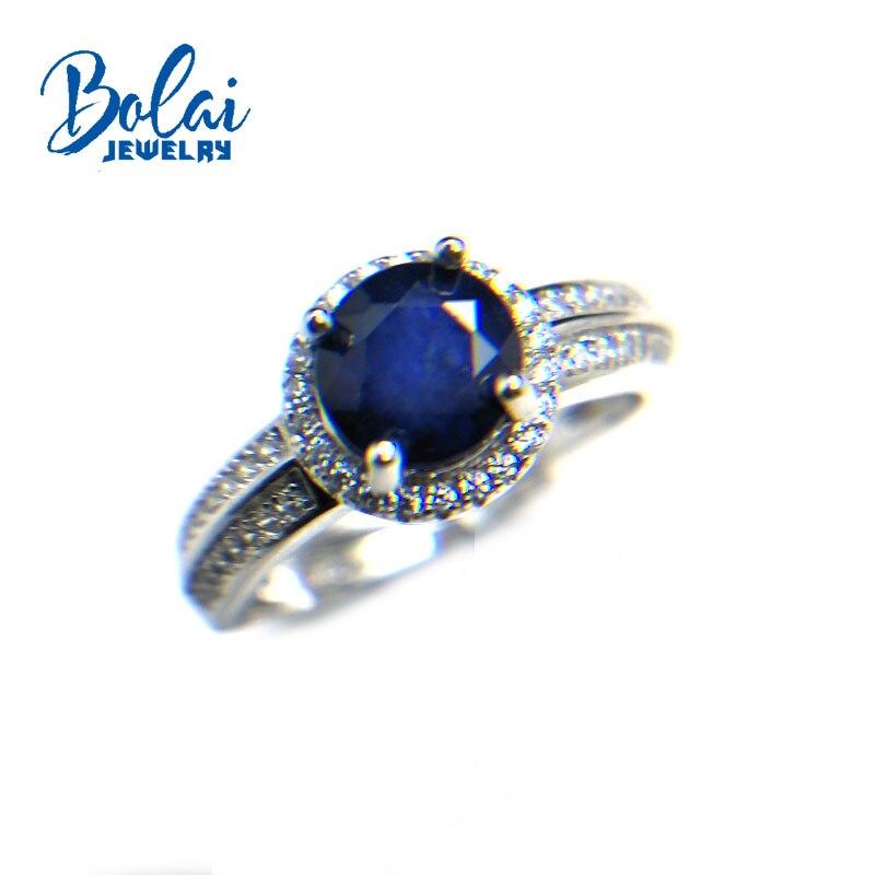 Bolaibijoux, diffusion naturelle saphir bleu foncé rond 6mm 1.35ct bague en pierres précieuses 925 argent sterling bijoux fins pour les femmes cadeau