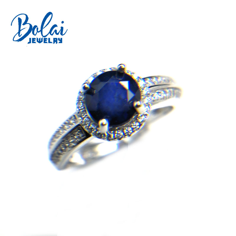 Bolaijewelry,natural diffusion dark blue sapphire round 6mm 1.35ct gemstone Ring 925 sterling silver fine jewelry for women giftBolaijewelry,natural diffusion dark blue sapphire round 6mm 1.35ct gemstone Ring 925 sterling silver fine jewelry for women gift