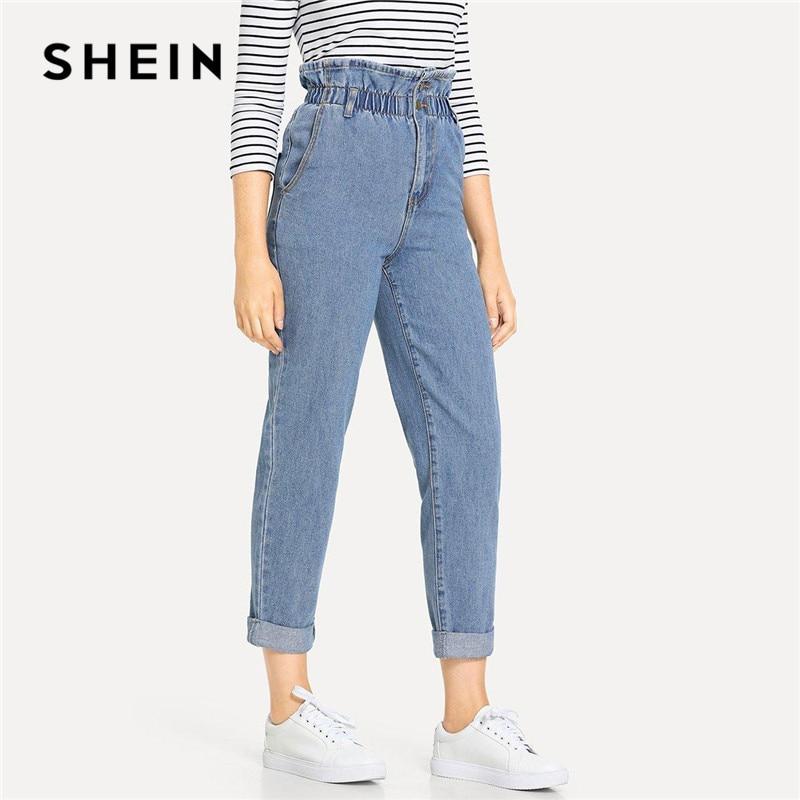 6bf512320d SHEIN Blue Rolled Hem Frill High Waist Jeans 3 Colors 2019 Women Spring  Plain Pocket Zipper Elastic Waist Casual Pants Trousers ~ Best Deal July  2019