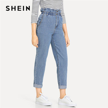 SHEIN Blue Rolled Hem Frill High Waist Jeans 3 Colors 2019 Women Spring Plain Pocket Zipper Elastic Waist Casual Pants Trousers