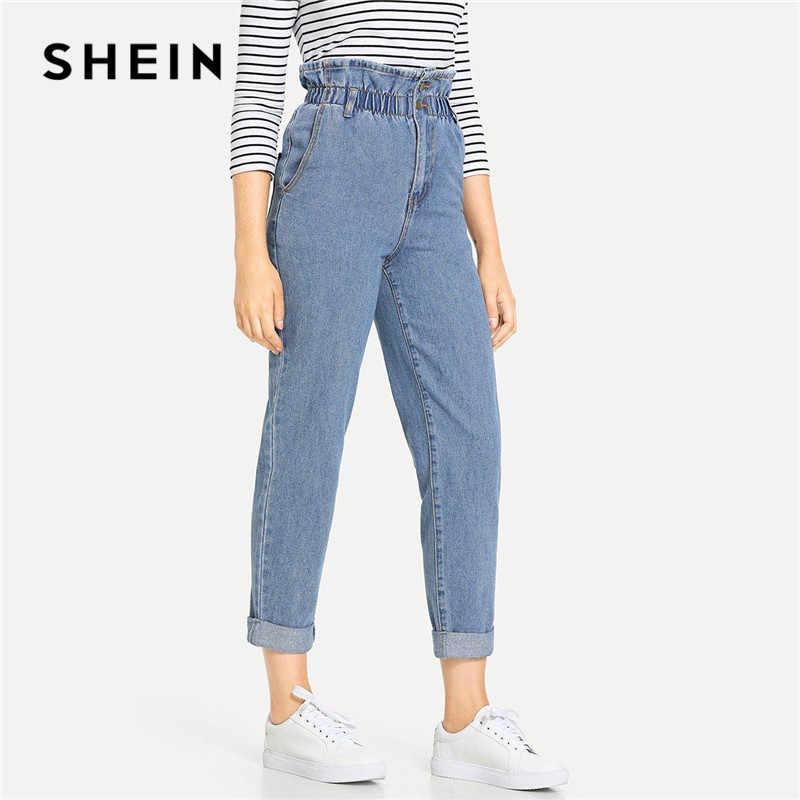 3000481ae1 SHEIN Blue Rolled Hem Frill High Waist Jeans 3 Colors 2019 Women Spring  Plain Pocket Zipper
