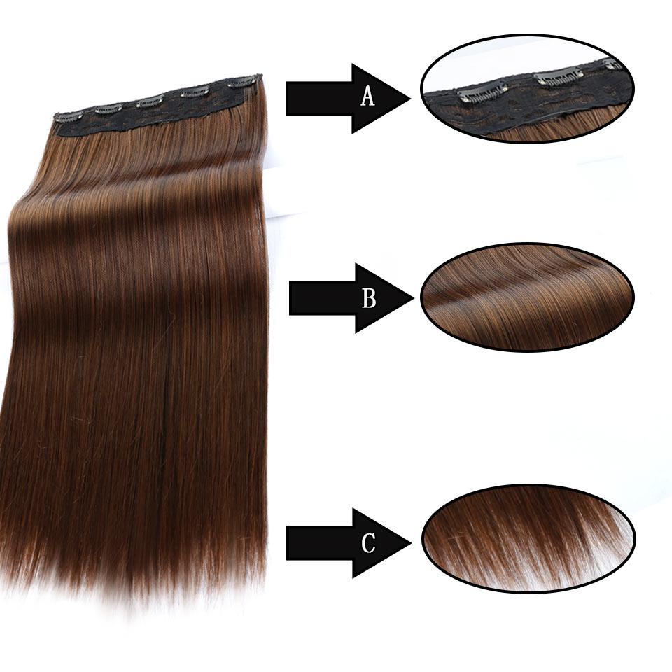AOSIWIG 24 tum långa raka syntetiska hårförlängningar 5Clips i - Syntetiskt hår - Foto 5