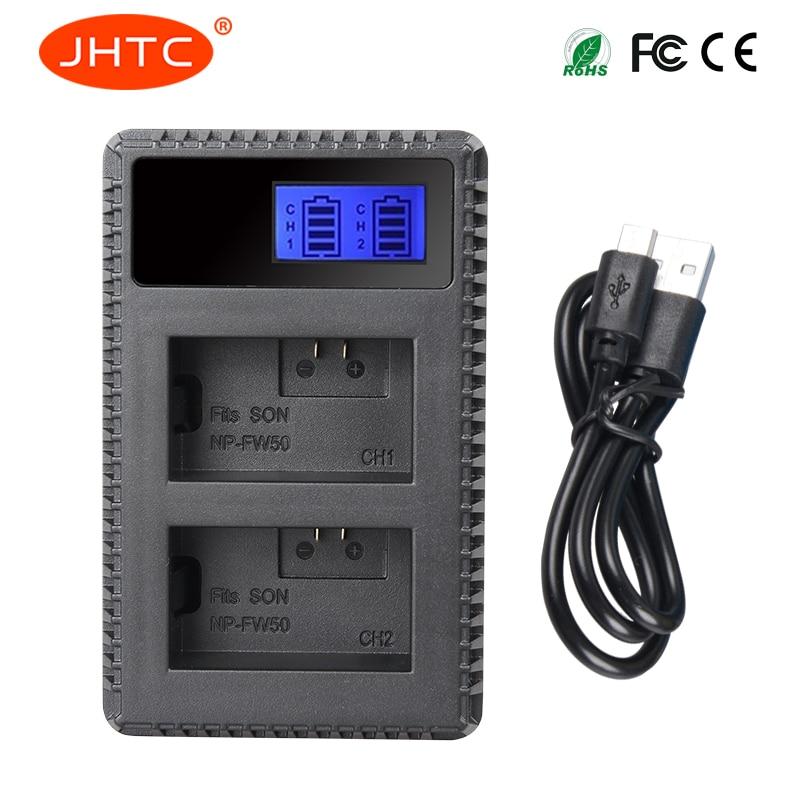 JHTC 1 unid USB DUAL NP-FW50 NP FW50 NPFW50 LCD cargador para Sony NEX-3 NEX-3N NEX-5 Alpha 7 a7 7R a7R 7 s a7S a3000 a5000 con pantalla LCD