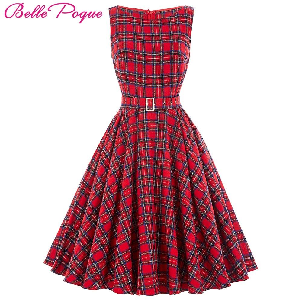 Belle Poque Plaid Patrón Audrey Hepburn Gran Swing vestido de Partido Atractivo