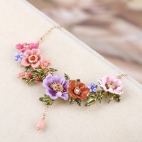 Romantic Luxury Blooming Flowers Branch Necklace Enamel Glaze Fashion French Necklaces Lady Party Jewelry