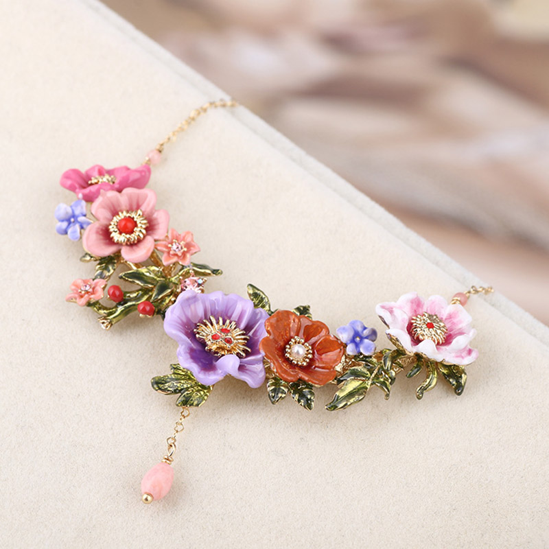 Romantic Luxury Blooming Flowers Branch Necklace Enamel Glaze Fashion French Necklaces Lady Party Jewelry unique mermaid with shell pendant necklace for women enamel glaze fashion choker necklaces lady party jewelry