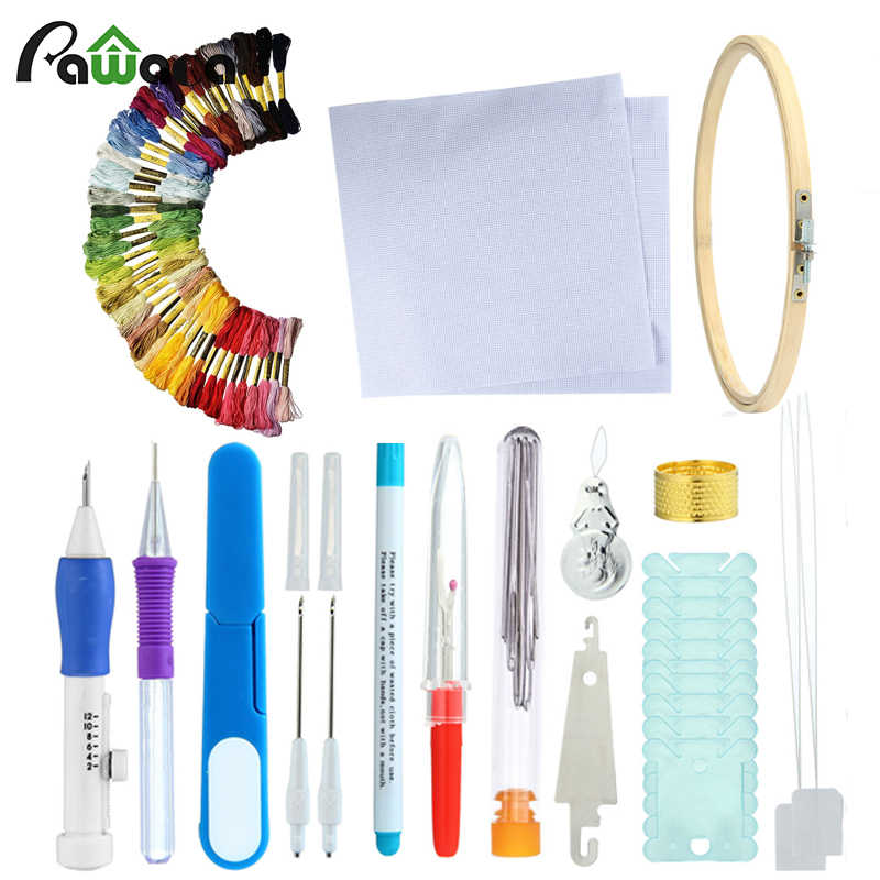 Embroidery Stitching Punch Needle Tool Sets Magic Embroidery Stitching Punch Pen With Case DIY Craft Sewing Tool for Embroidery