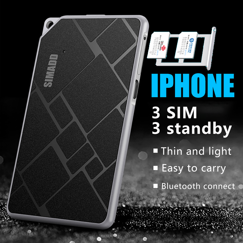 3 Sim 3 adaptateur de cadre métallique Ultra-mince en veille SIMplus & SIMADD K1 pour iPhone5/6/7/8/X/XS MAX avec fonctions d'appel SMS sur iOS 7-12