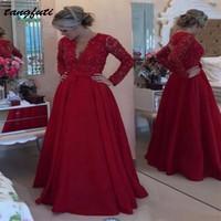 Красное вечернее платье с длинным рукавом вечерние плюс Размеры Кружева Линия шифон вечерние платья вечерние платье Праздничное платье Longo