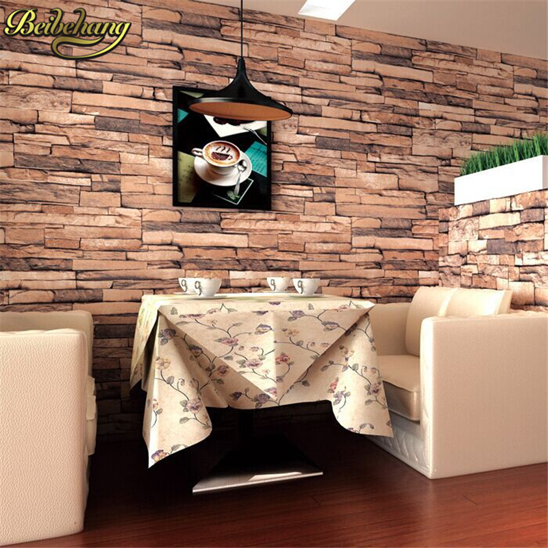 beibehang Deep Embossed Brick Pattern Paper papel de parede 3d Wallpaper For living room Home Decoration Wallcovering Wall Decor wholesale vintage mural 3d brick stone room wallpaper vinyl waterproof embossed wall paper roll papel de parede home decor 10m