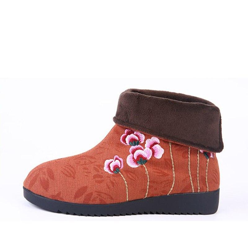 Chaud Denim Gray Bottes Tissu 2018 Plat Hiver Neige Cheville Coton green red Chaussures Court Boot Broderie Fleur Style Nouvelles Femelle Femmes qE8IwU8