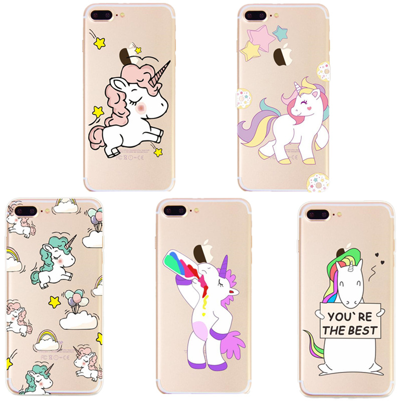 New Luxury Cartoon Horn Horse Print Phone Iphone 6 6S 7 8 Plus 5 5S SE Clear Silicone Shockproof Back Cover
