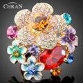 Promoción Joyería de la Boda Elegante de La Manera Chapado En Oro Circón de Cristal austriaco Flor Del Esmalte Anillos de Compromiso Para Las Mujeres