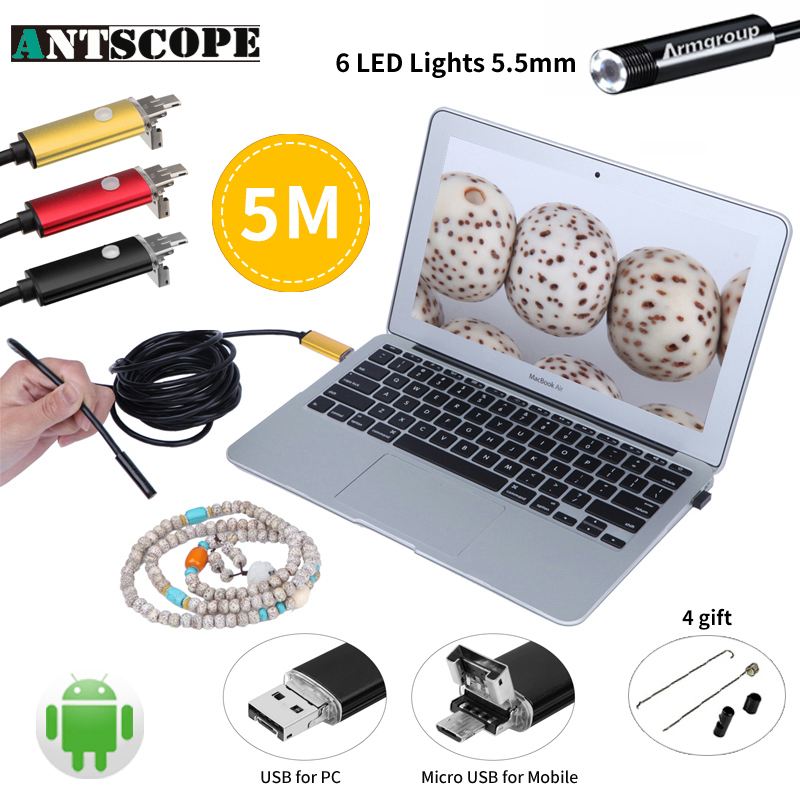 5.5mm OD 2IN1 USB Android Endoscope Camera 5M Snake Tube Waterproof MicroUSB Andorid Borescope Camera Inspection Endoscopio bullet camera tube camera headset holder with varied size in diameter