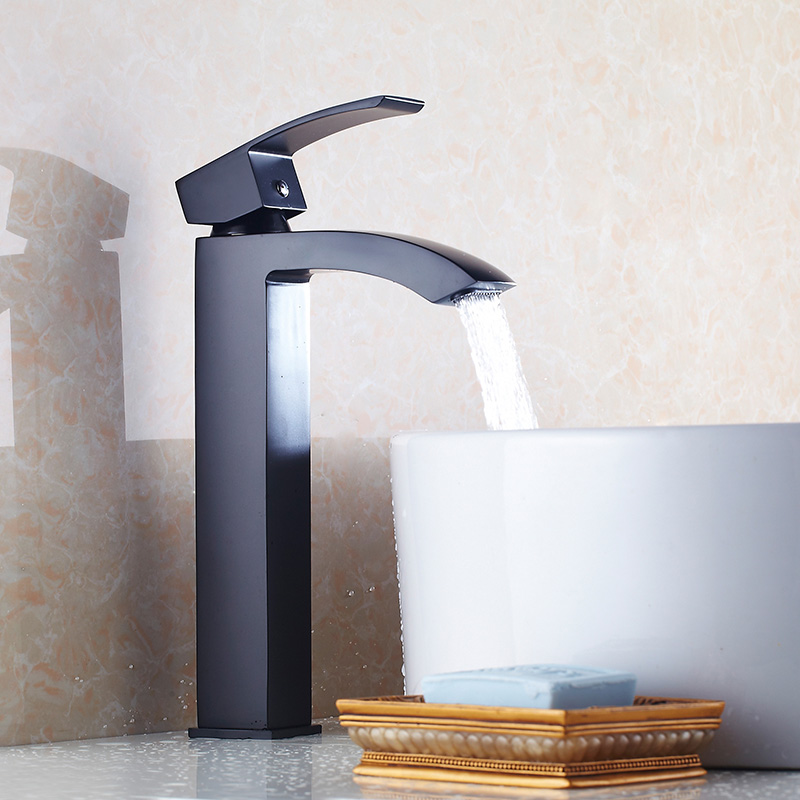 Tall Basin Faucet Waterfall Bathroom Faucet Single handle Basin Mixer Tap Bath Chrome/Black Faucet Brass Sink Water Crane micoe hot and cold water basin faucet mixer single handle single hole modern style chrome tap square multi function m hc203