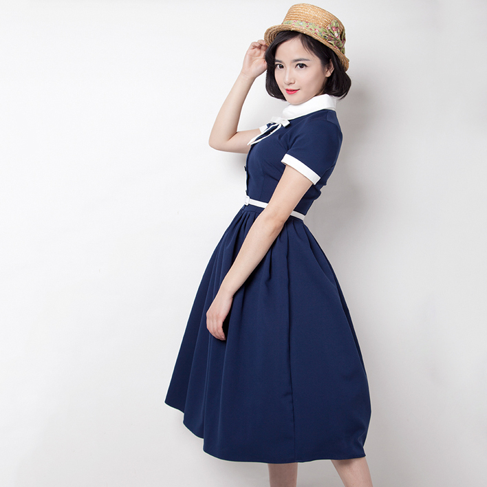 Fasion Preppy Style font b Shirt b font Dress Vintage Audrey Hepburn Dress 50s 60s Rockabilly