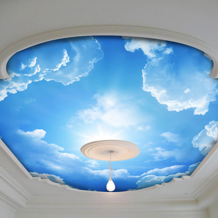 Blue sky and white cloud photo wallpaper silk wall mural for Ceiling sky mural