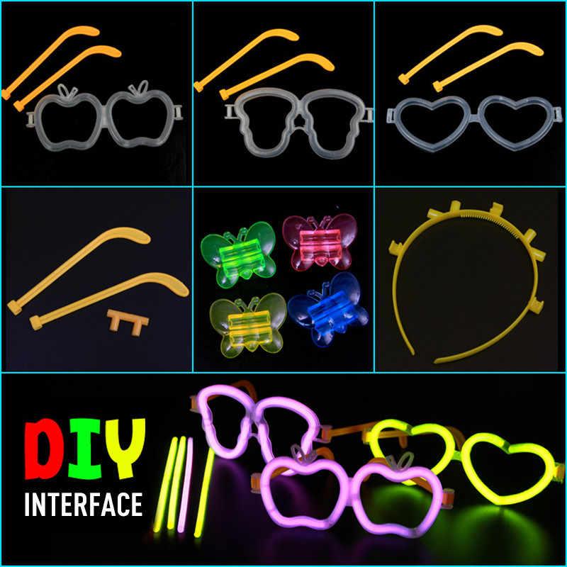 Luce di fluorescenza Glow Spiedi di plastica Della Farfalla Della Fascia Occhiali Da Vista Modello Di Compleanno Di Natale Del Partito di Festival Evento Luminoso Prop