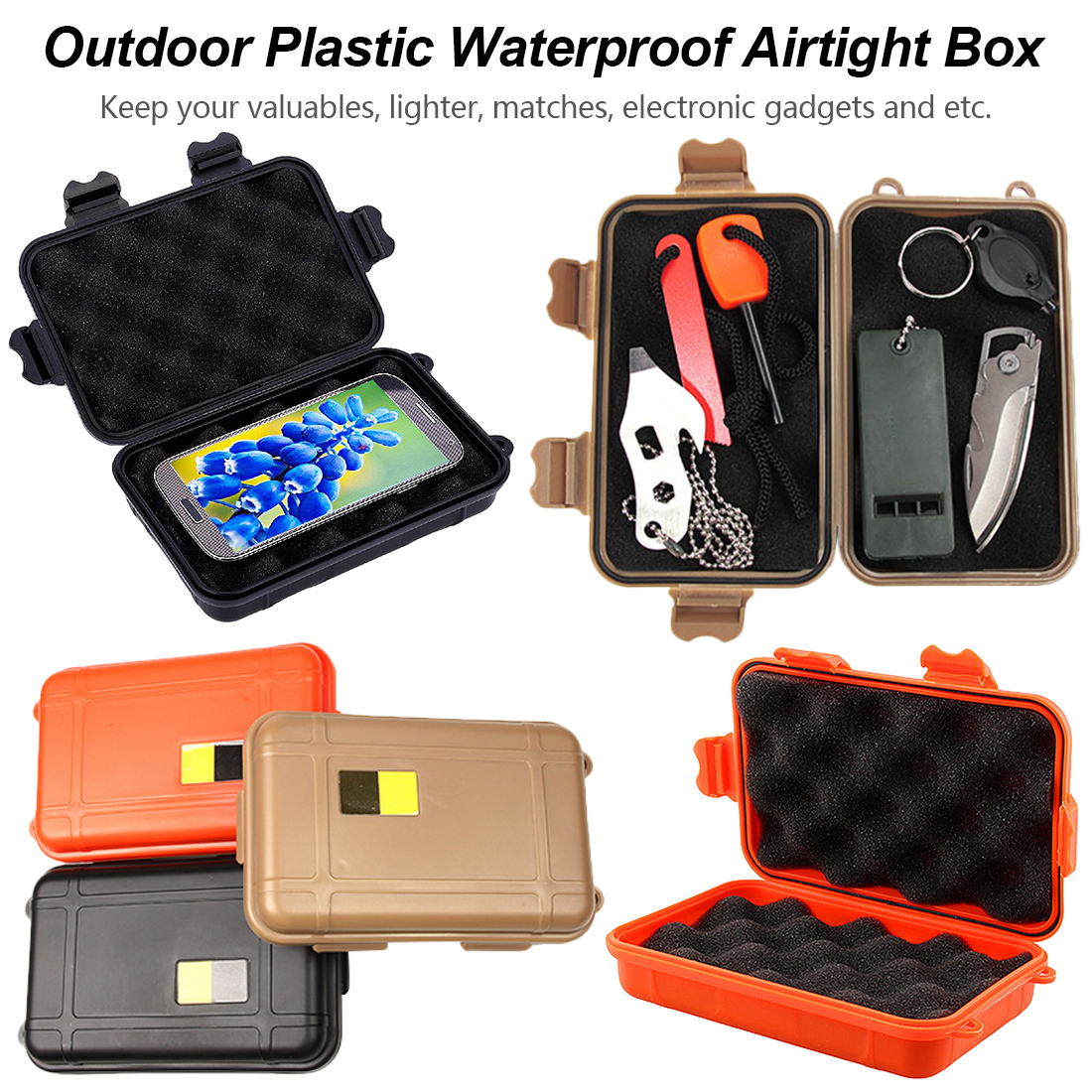 1pcs Outdoor Nylon Waterproof Airtight Survival Case Container Storage Carry Box