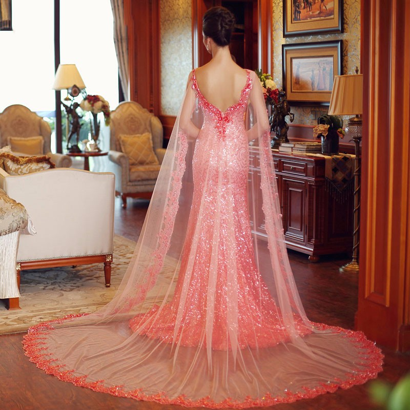 SML Peach Formal Dress Sequin With Shawl Mermaid Prom Evening ...