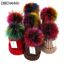 Fashion New Real Fox Fur Mink Pompoms 15cm Skullies Beanies Hats For Women Girl Winter Hats Children Warm Skullies Beanies Hats kids winter hats 2017 new real fox fur pompoms knitted beanies hat for children boys girls solid color skullies