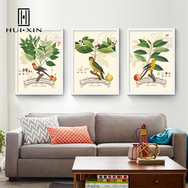 American Country Graceful Flower Lively Birds Cheerful Atmosphere Charming Wall Paintings Art Canvas Posters for Home Decoration