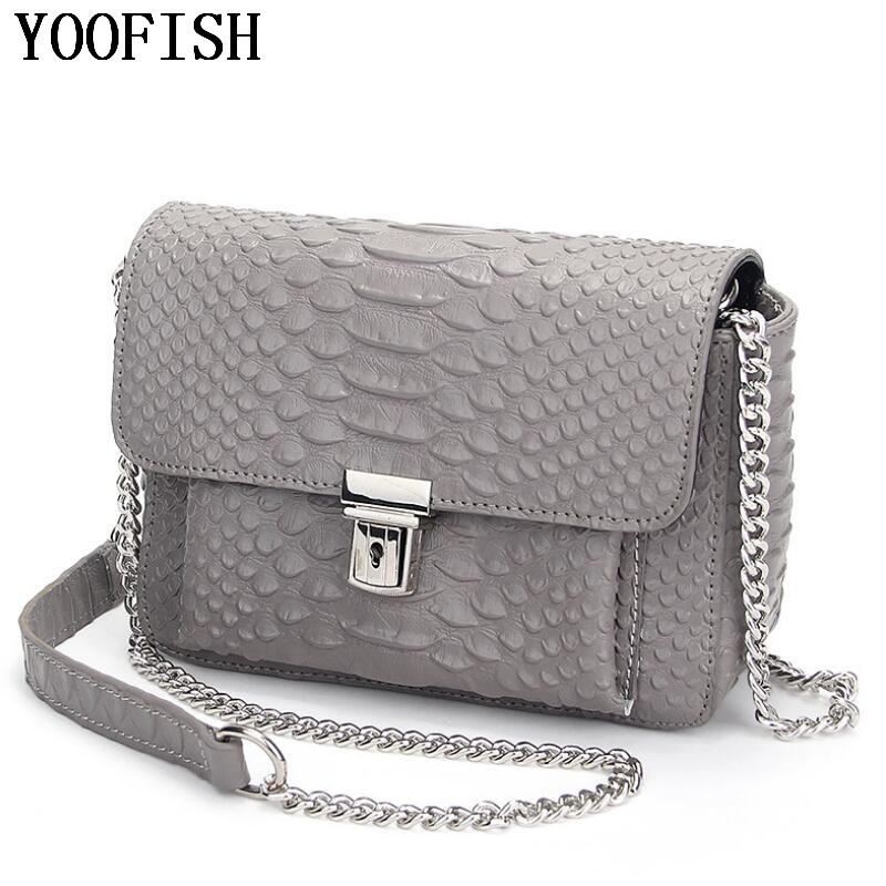 2017  Brand Genuine Leather Women Bag Fashion Women bag Classic Lock Chains Shoulder Bag Soft Leather Crossbody Bag  LJ-0638 stylish bicycle lock and round pendant double sweater chains for women
