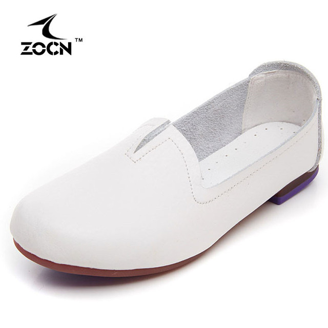 ZOCN Ballet Flats Women Loafers Genuine Leather Shoes 2016 Hot Sale Zapatos Mujer Comfortable Casual Ladies Shoes Moccasins