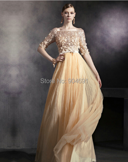 f89f859ae1297 Gold Tulle Evening Dresses Empire Waist Maternity Dress Full Sequins Beading  3/4 Sleeves Formal Party Prom Dresses Gowns E14622-in Evening Dresses from  ...