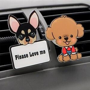 Image 3 - Auto Outlet Parfum Schattige Puppy Hond Automobiles Luchtverfrisser Auto Ornament Effen Geur Airconditioner Outlet Clip Auto Decor