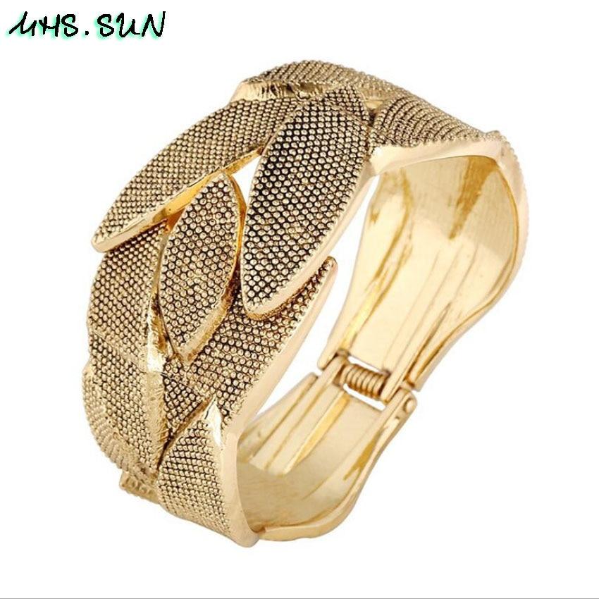 SUN Exaggerated Design Women Leaf Big Bangles Bracelets European Baroque  Bangles For Female Jewelry f2d91ad120e0