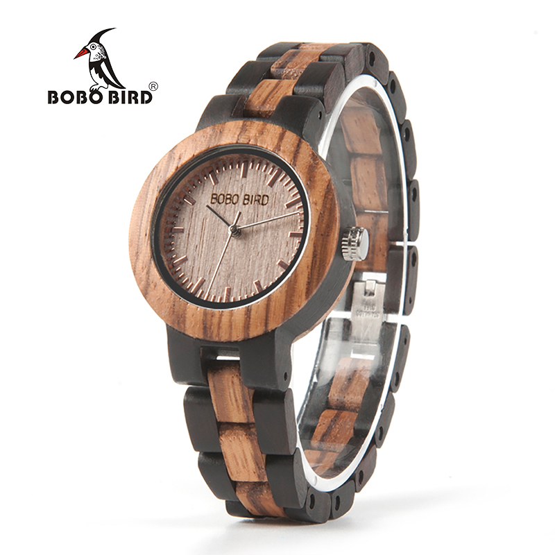 Watch Dress Bracelet Wooden-Strap Bobo Bird Two-Colors Women Relogio Ladies Luxury