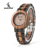 BOBO BIRD 2017 New Arrival Ladies Wood Watch Luxury Bracelet Watches With Two Colors Wooden Strap