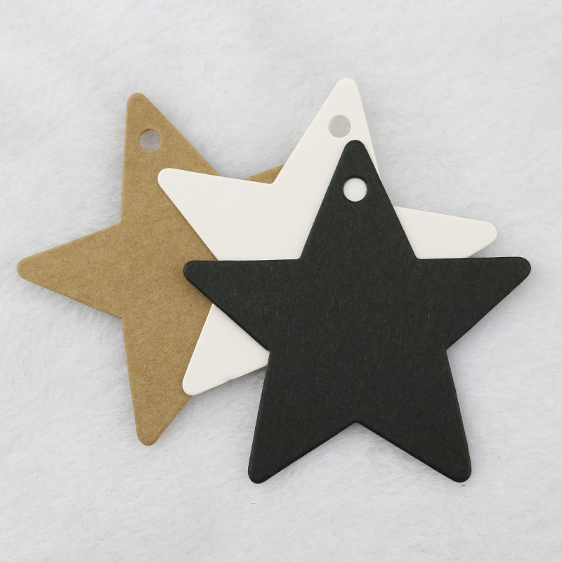 50Pcs Black Star Kraft Paper Label Price Tags Wedding Christmas Halloween Party Favor Gift Card Luggage Tags Packaging Labels