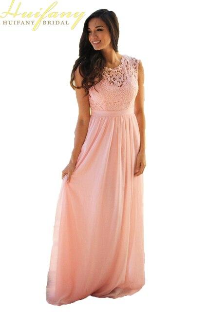 Bedwelming Lace Applique Elegant Bruidsmeisje Jurken Jewel Bruiloft Gast Jurk @PB79