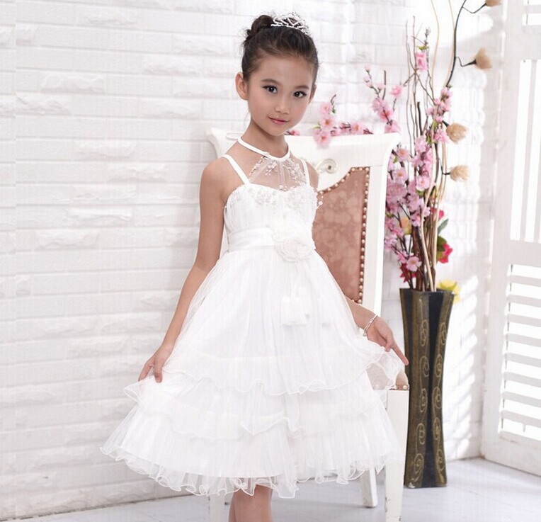 2017 Fashion Knee Length Special Offer Flowers Kids Dresses For Girls Princess Dress Hanging Neck Strap Mesh Layered Dress 2016 sale new knee length kids kids dresses for girls free shipping2013 fashion dance dressperformance wear costumes th3004c