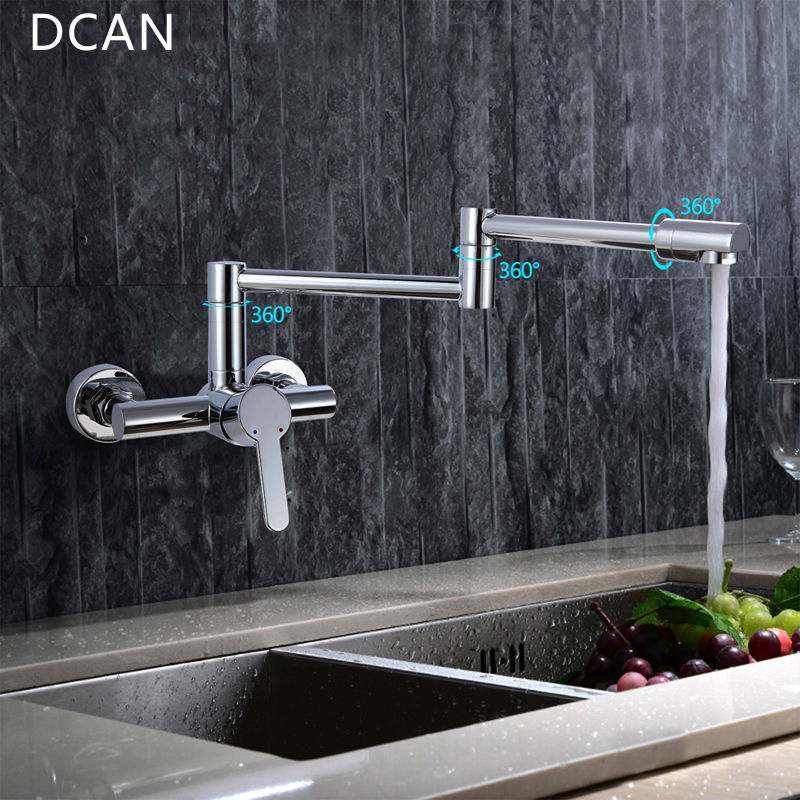 Kitchen Sink Faucets Brass Chrome Fold Kitchen Faucet Extension Hot&Cold Water Kitchen Faucets Mixer Tap Folding Bar Sink Faucet