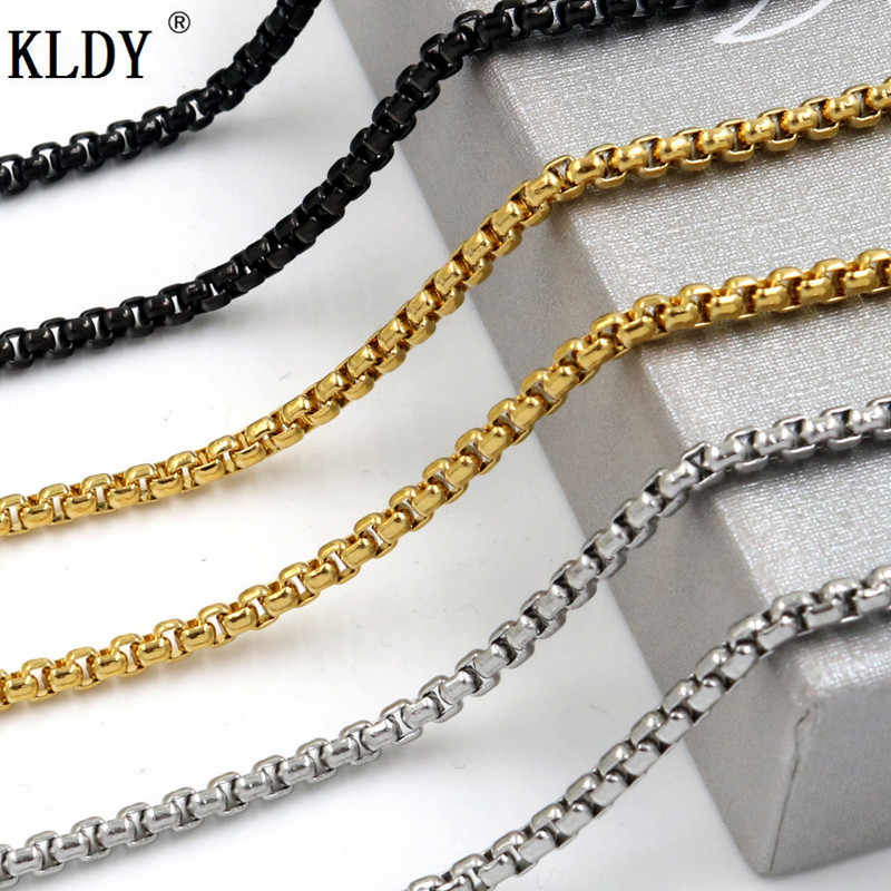 KLDY men chain Stainless Steel Chain Necklace men's silver gold black Necklace Hip Hop women Jewelry quality wholesale 3/3.5/4mm