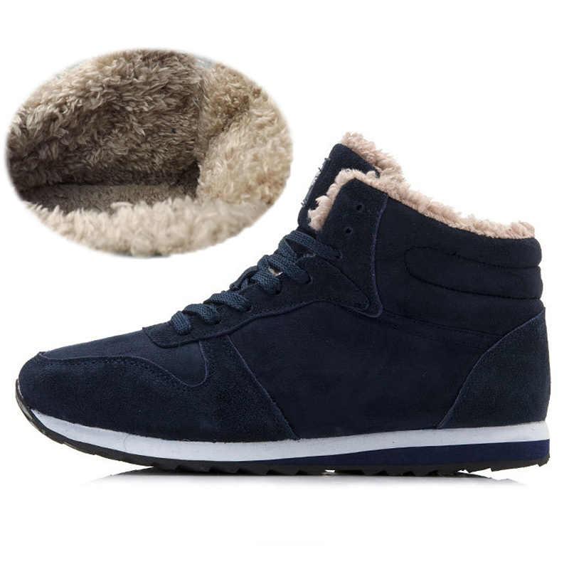 Quanzixuan Mannen Laarzen Winter Warme Snowboots 2019 Nieuwe Mannelijke Schoenen Blauw Zwart Lace-Up Suede Enkellaars Mode casual Schoenen