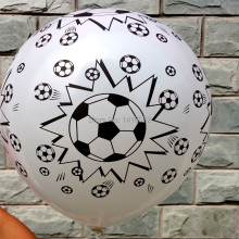 New style 50pcs /lot Football printing balloon, high quality round balloon white color party decorations