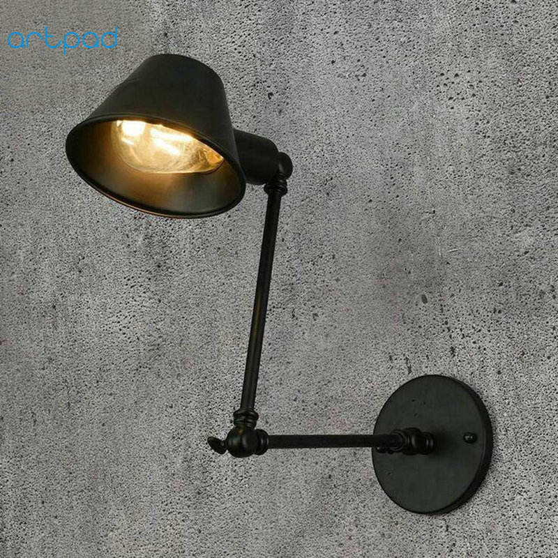 Artpad American Industrial Jielde Wall Lamp Swing Long Folding Arm Black Iron Sconces LED Wall Mounted
