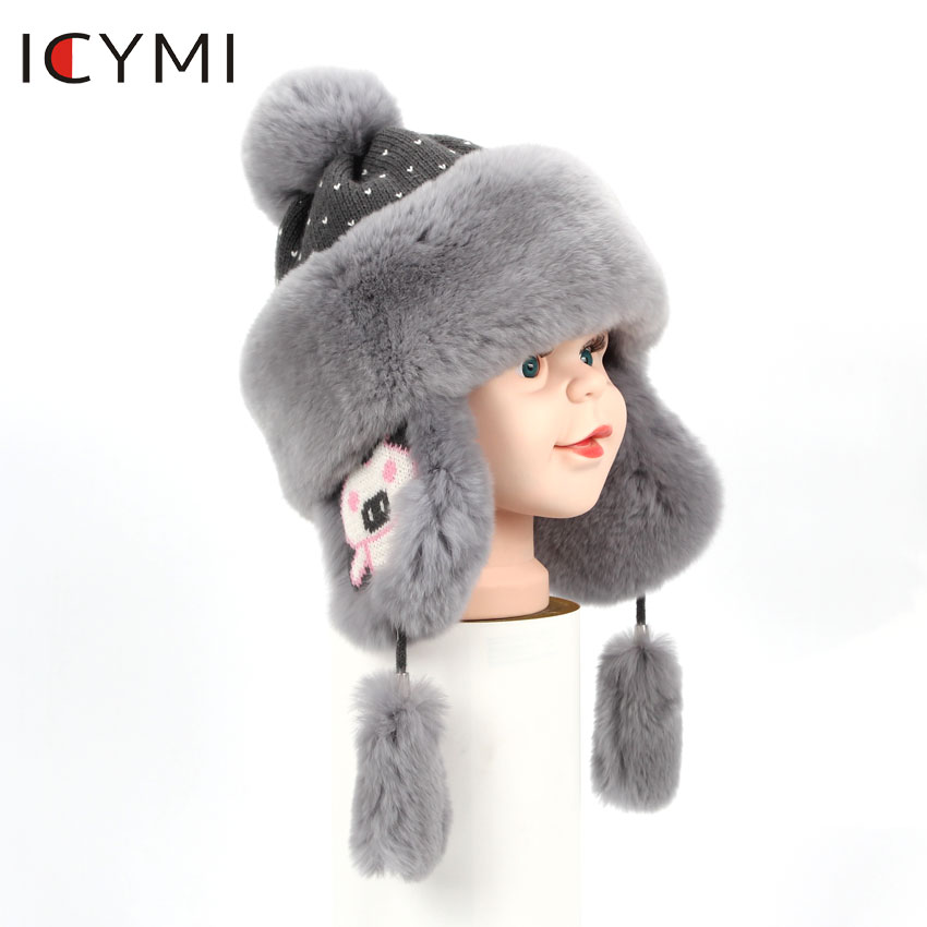 ICYMI Caps Earmuff Rex-Rabbit-Fur Kids Hats Bomber-Cap Girls Boys Winter Children Real
