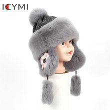 ICYMI Winter Real Full Pelt Rex Rabbit Fur Bomber Hats Children Kids boys girls warm fur Bomber Cap Cute Earmuff Hats Caps