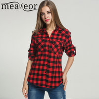 Meaneor Women S Roll Up Sleeve Casual Loose Boyfriend Plaid Button Down Blouse Shirt Summer Spring