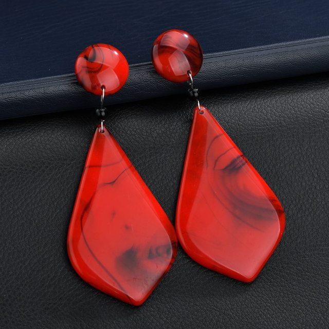 DIEZI Vintage Girls Gift Resin Earrings For Women Fashion Bohemian Geometric Drop Dangle Earrings Statement Jewelry