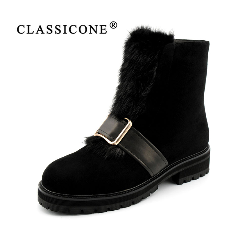 CLASSICONE women' shoes ankle boots Winter black Genuine leather Wool fur snow boots 2017 flats shoes women brand fashion style 2017 free genuine leather motorcycle boots biker shoes women pointed snow boots brand shoe famous designer woman flats