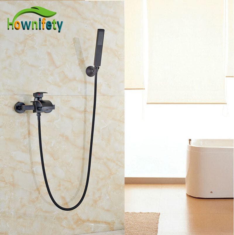 Wall Mount Oil Rubbed Bronze Bathtub Faucet W/Hand Sprayer Waterfall Spout Tap Single Lever allen roth brinkley handsome oil rubbed bronze metal toothbrush holder