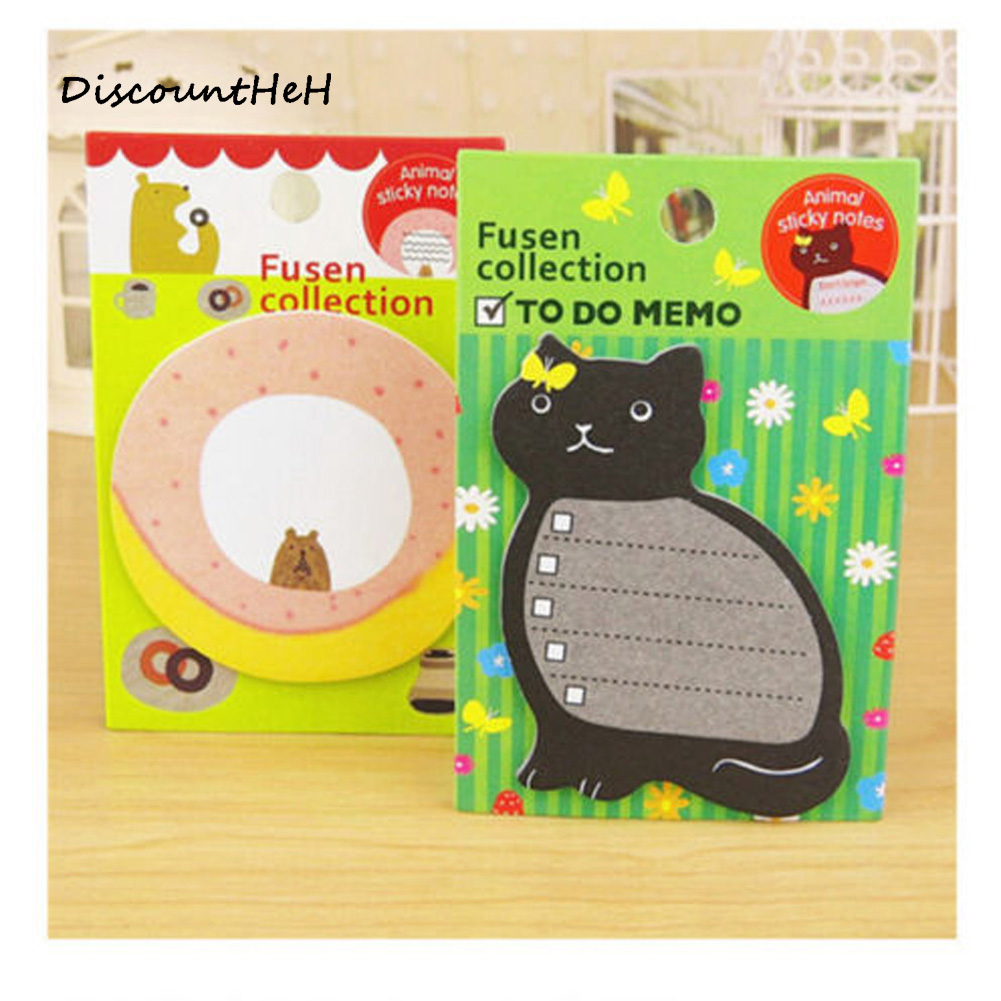 2 pcs/set Creative Cute Animal Series Paper Memo Pad Sticker Post Sticky Notes Notepad School Office Supplies Random Pattern