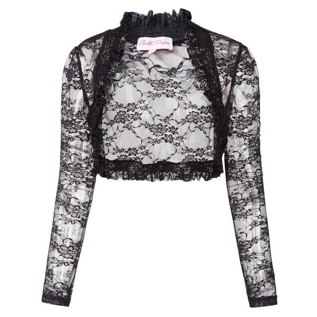 fbcacd7c090 Women Lace Open Stitch Cardigan Female Coat 2018 Spring Autumn Floral Crop  Bolero Shrug Black Long